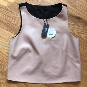 Tibi blush pink leather crop top Sz 6 NWT